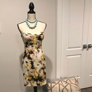J.Crew Sz 2 watercolor print strapless dress.